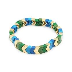 Armband emaille tegel v-vorm groen/blauw/lichtblauw/goud
