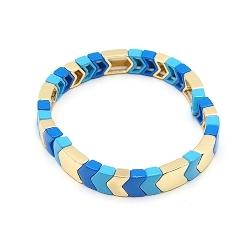 Armband emaille tegel v-vorm blauw/lichtblauw/goud