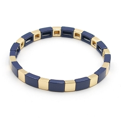 Armband emaille tegel vierkant donkerblauw/goud