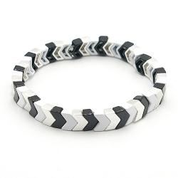 Armband emaille tegel v-vorm zwart/wit/zilver