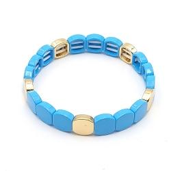 Armband emaille tegel vierkant afgerond lichtblauw goud