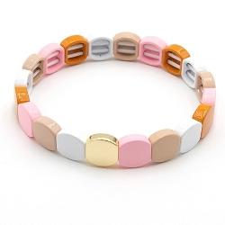 Armband emaille tegel vierkant afgerond wit/nude/roze/brique