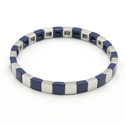 Armband emaille tegel vierkant 6mm donkerblauw/zilver