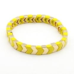 Armband emaille tegel v-vorm geel/goud