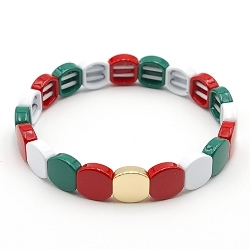 Armband emaille tegel vierkant afgerond rood/wit/groen