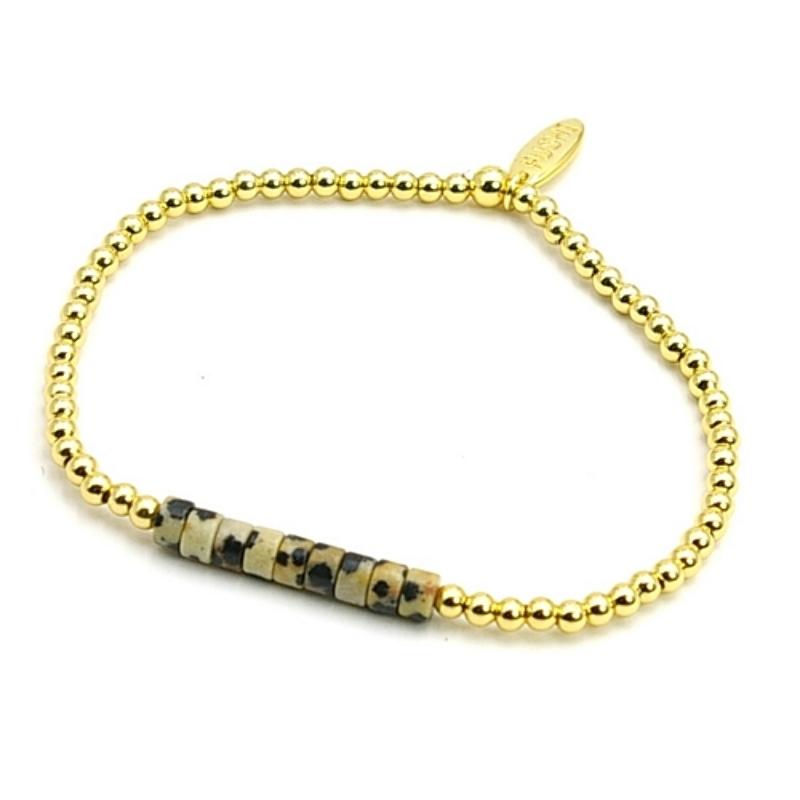 Armband halfedelsteen dalmatier schijfje met 14krt balletjes