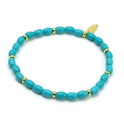 Armband dyed turquoise ovaal turquoise en 14krt schijfjes