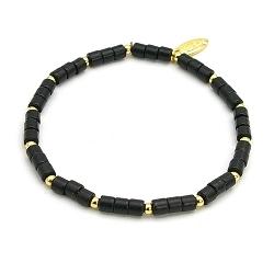 Armband dyed turquoise blokje zwart met 14krt schijfjes