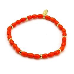 Armband dyed turquoise ovaal oranje en 14krt schijfjes