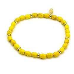 Armband dyed turquoise ovaal geel en 14krt schijfjes
