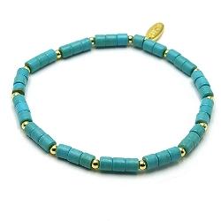 Armband dyed turquoise blokje turquoise met 14krt schijfjes