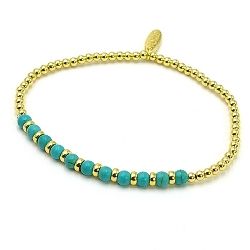 Armband dyed turquoise 4mm rond turquoise met 14krt balletjes