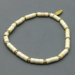 Armband dyed turquoise blokje wit met 14krt schijfjes