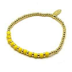 Armband dyed turquoise 4mm rond geel met 14krt balletjes