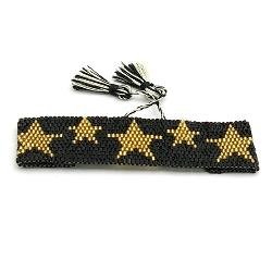 Armband geweven mijuki kraaltjes zwart met gouden sterren