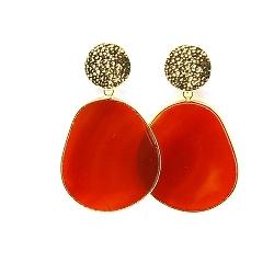 Oorbellen halfedelsteen oranje agaat met gouden steker