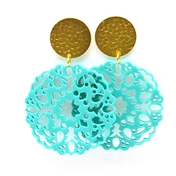 Oorbellen schelphars bloem turquoise