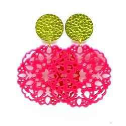 Oorbellen schelphars bloem roze