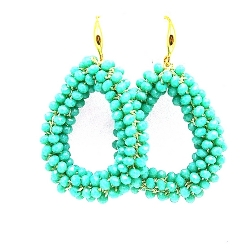 Oorbellen Candy klein turquoise facet met gouden haakjes