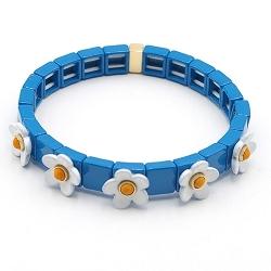 Armband emaille tegel vierkant blauw met witte bloemetje