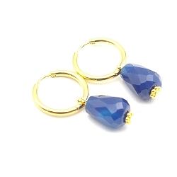 Oorbellen creolen goud met facet geslepen agaat druppel blauw