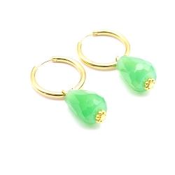 Oorbellen creolen goud met facet geslepen agaat druppel groen