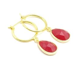 Oorbellen creolen goud met facet geslepen halfedelsteen druppel oranje/rood