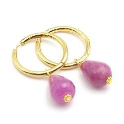 Oorbellen creolen goud met facet geslepen agaat druppel roze