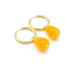 Oorbellen creolen goud met facet geslepen agaat druppel oranje