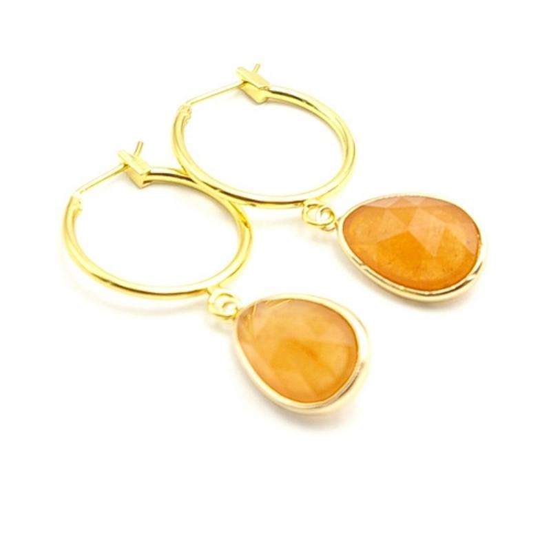 Oorbellen creolen goud met facet geslepen halfedelsteen druppel oranje