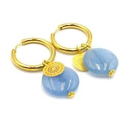 Oorbellen creolen goud met halfedelsteen agaat lichtblauw