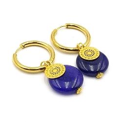 Oorbellen creolen goud met halfedelsteen agaat donkerblauw