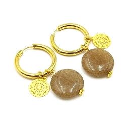 Oorbellen creolen goud met halfedelsteen agaat bruin en muntje