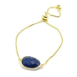 Armband verguld met halfedelsteen ovaal donkerblauw