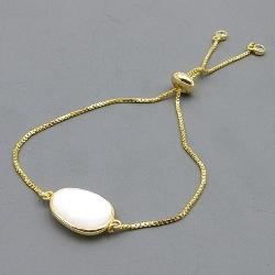 Armband verguld met halfedelsteen ovaal wit