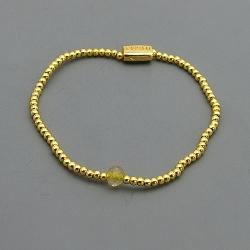 Armband 3mm 14krt goud met halfedelsteen citrien kraal