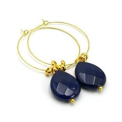 Oorbellen creolen goud met agaat donkerblauw druppel