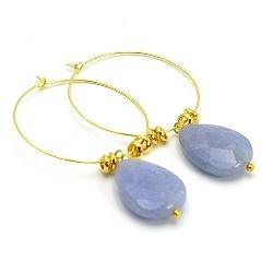 Oorbellen creolen goud met agaat grijsblauw druppel