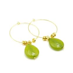 Oorbellen creolen goud met agaat groen druppel