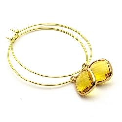 Oorbellen creolen dun goud met vierkant facet hanger