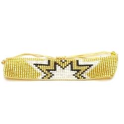 Armband plat geweven goud met ster