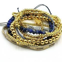 Armbandset 14krt en halfedelsteen blauw tinten