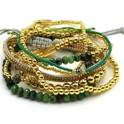 Armbandset 14krt en halfedelsteen groen tinten