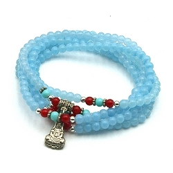 Armband wikkel glaskralen 5 rij lichtblauw