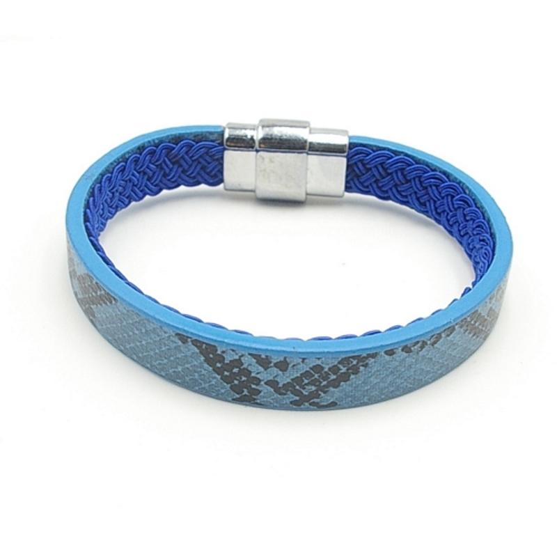 Armband PU leer dubbelzijdig draagbaar snake blauw