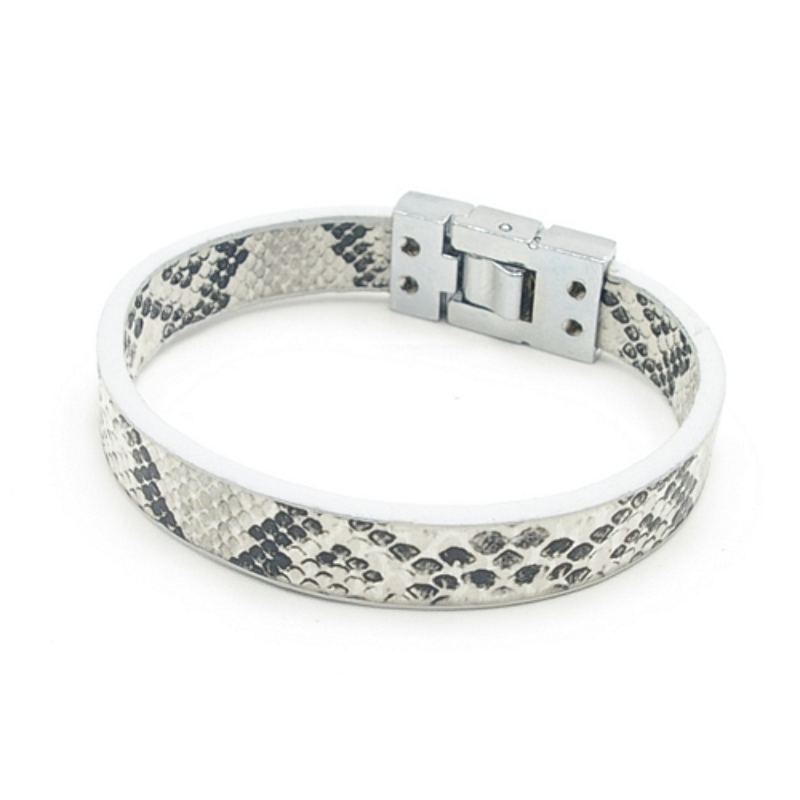 Armband PU leer snake wit