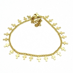 Armband goud kruisjes (3 stuks)