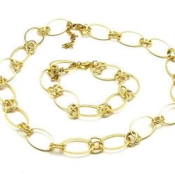 Set ketting en armband metaal goud schakel