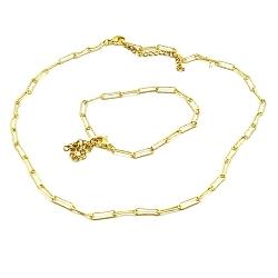 Set ketting en armband metaal goud schakel smal