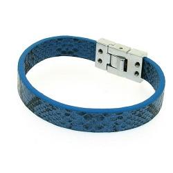 Armband PU leer snake blauw